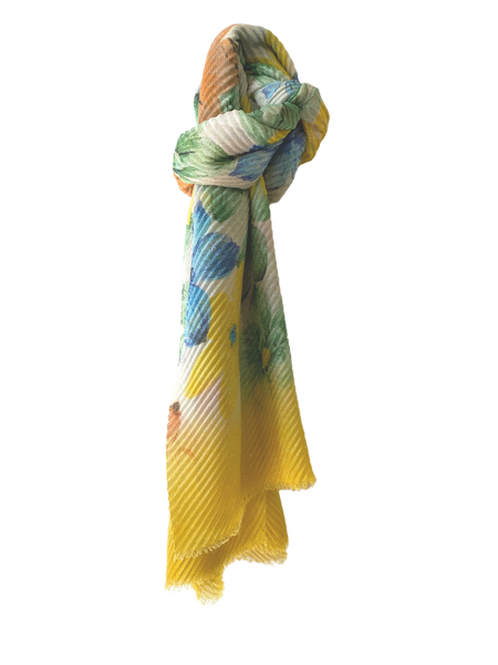 Floral Pleated Scarf - Canary Yellow