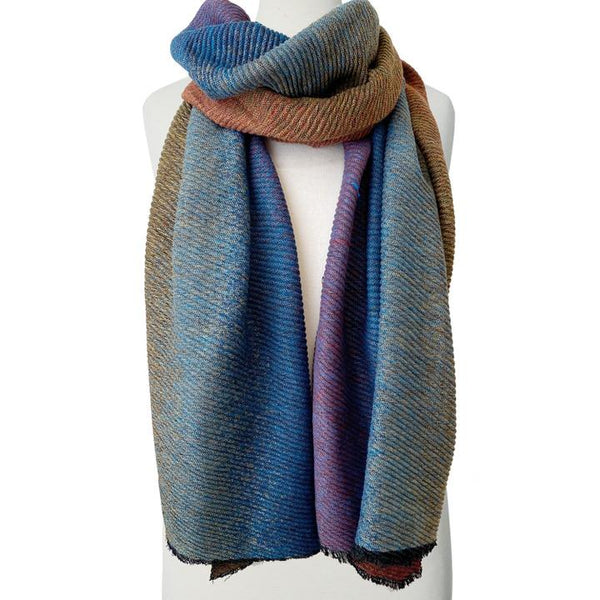 Large Rippled & Soft Ombre Patterned Scarf