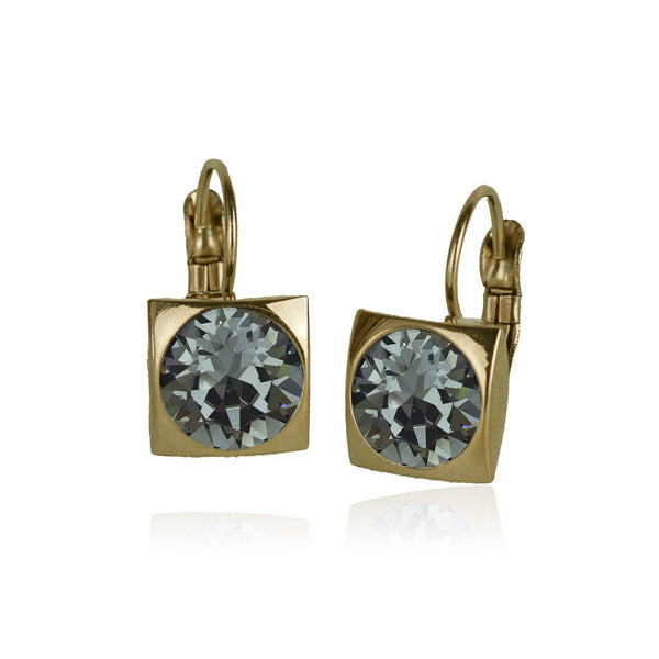 Luxe Square Swarovski Frenchback - Black Diamond