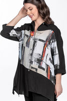Abstract Print Asymmetric Hem Tunic