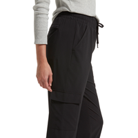 HUE Travel Utility High Waist Cropped Straight Leg-Black
