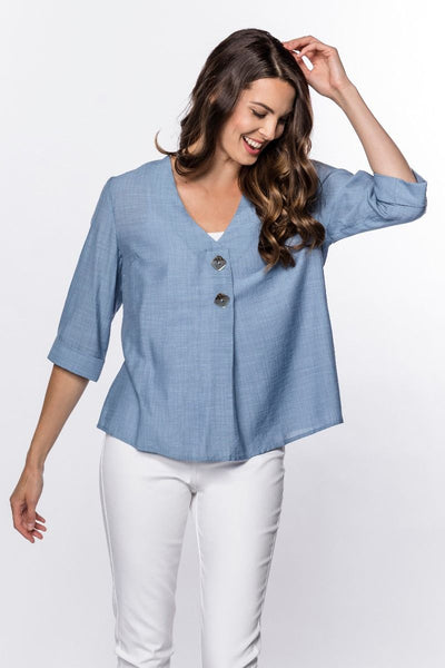 Button-Front 3/4-Sleeve Top in Denim