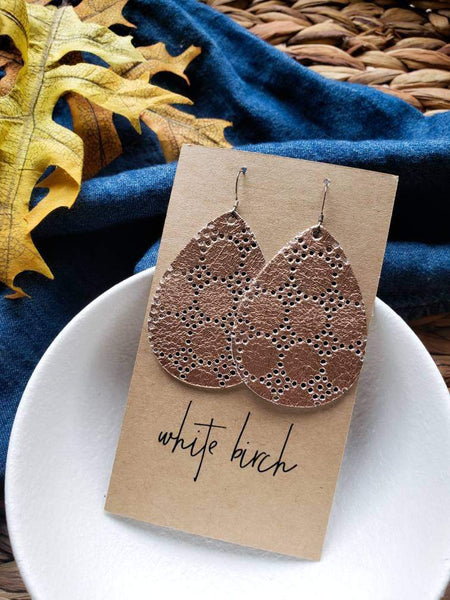 Rose Gold Dot Leather Teardrop Earrings