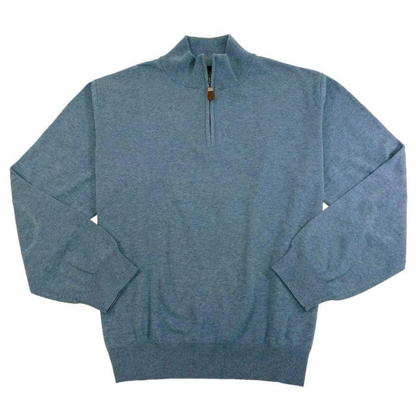 Viyella - Cotton and Silk Blend Sweater Zip-Up (Blue)