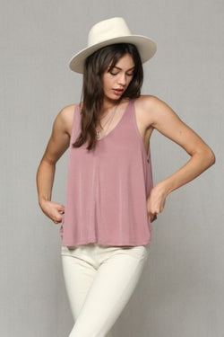 Indian Red Modal Poly Washed Ribbed Tank Top