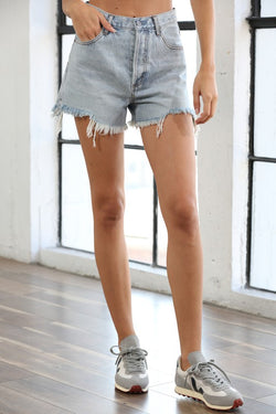 High Waisted Destroyed Detailed Button Fly Denim Shorts