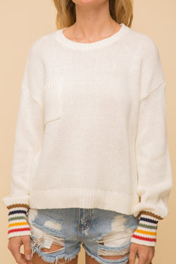 Rainbow Stripe Cuff Sweater