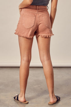 Distressed Clay Denim Shorts