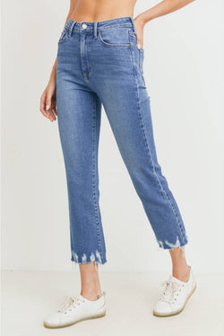 High Rise Destroyed Hem Straight Jean