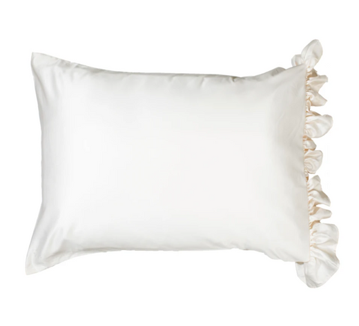 Silky Pillowcase with Ruffle- Ivory