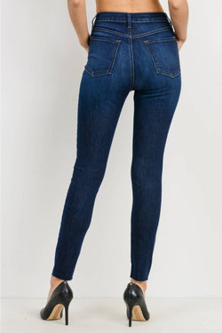 Scissor Cut Skinny Dark Denim Jean