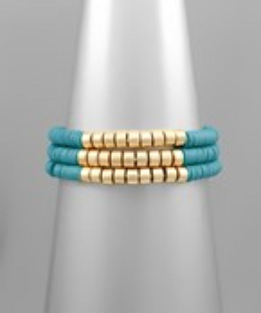 Set of 3 Rubber Disc Bracelets