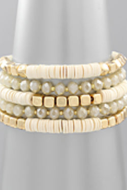 Rubber & Glass Bead Stretch Bracelet Set