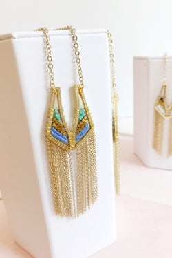 Multi Color Gold Fringe Necklace