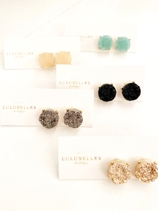 Druzy Circle Stud Earrings