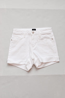 Mid Rise White Denim Short W Cuff