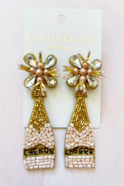 Champagne Cheers Pearl Top Boozy Earrings