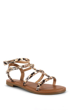 Snake and Gold Strap Sandal