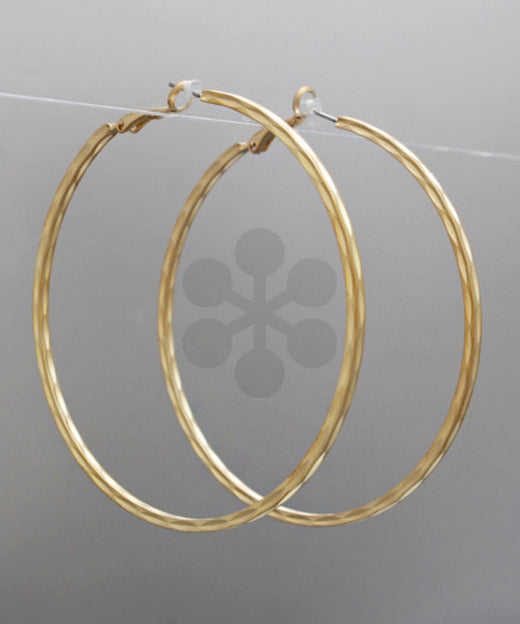 70mm Gold Grooved Hoops