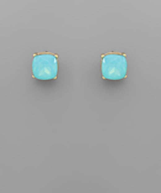 10mm. Glass Bead Square Studs
