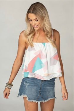 Pastel Multi Colored Geometrical Tank Top