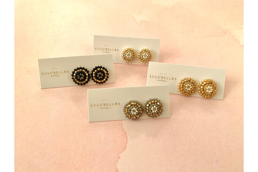 Beaded Dome Stud Earrings