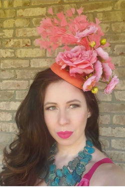 Sweet Peachy Pink Fascinator