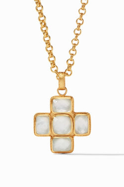 Julie Vos Savoy Pendant Gold Iridescent Crystal Necklace