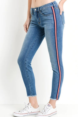 Striped Ankle Skinny Jeans