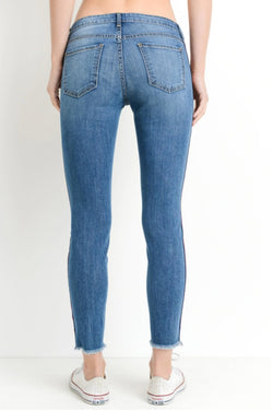 Striped Ankle Skinny Jean