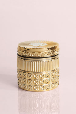 11oz Gold Faceted Jar Candle, Exotic Blossom and Basil