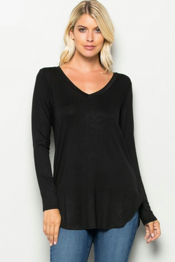 VNeck Long Sleeve Basic Top