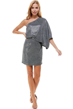 Asymmetrical One Shoulder Shimmer Dress