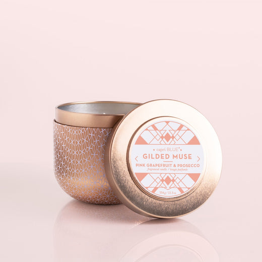 12.5oz. Rose Gold Tin Candle, Pink Grapefruit & Prosecco
