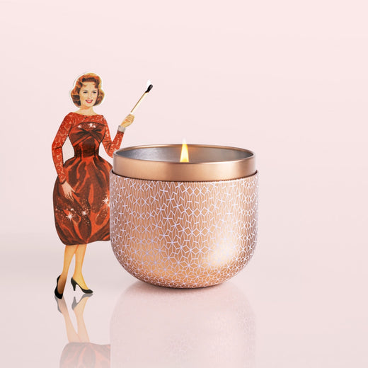 12.5oz Rose Gold Tin Candle, Pink Grapefruit & Prosecco