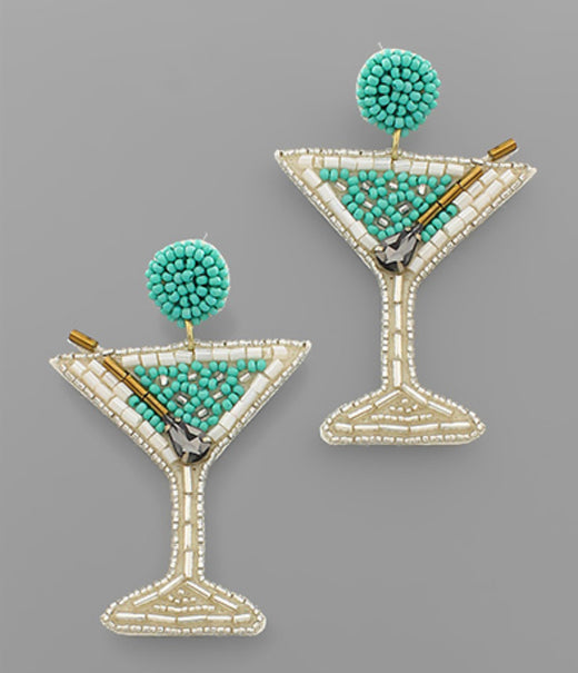 Martini Glass Bead Earrings