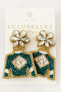 Derby Green White Gold KY Jockey Silk Hand Beaded Earrings
