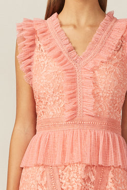 Vneck Peach Lace Dress