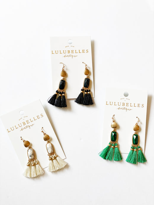 Tassel & Semi Precious Stone Earrings