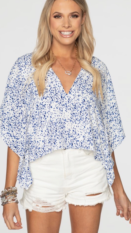 Blue and White Spotted Top