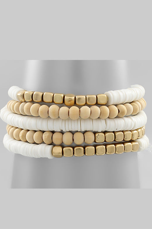 Rubber and Wood Bracelet Set of 5