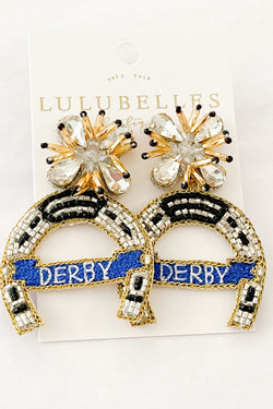 Derby Horseshoe Hand Beaded Earrings