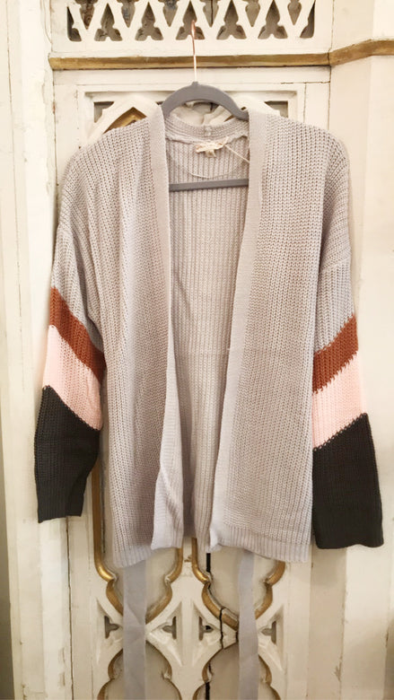 Stripe Color Block Contrast Belt Sweater Cardigan