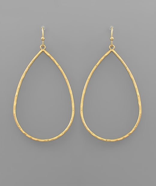 Hammered Thin Tear Drop Earring