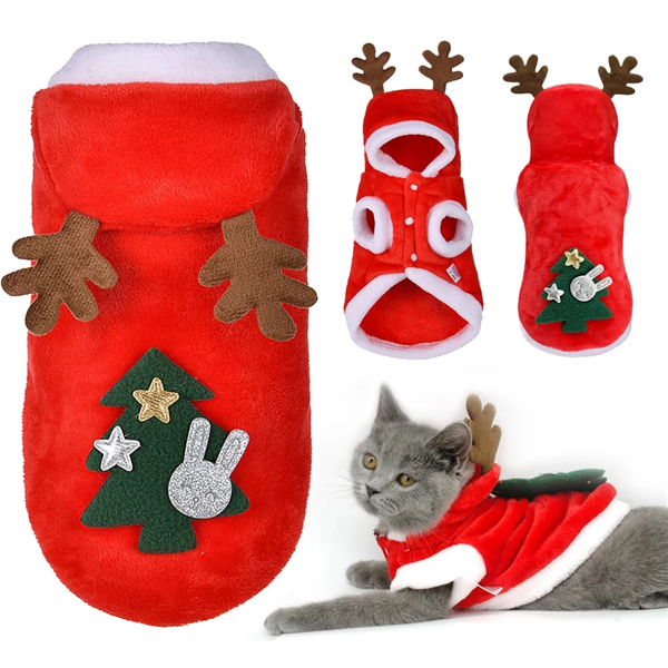 Christmas Cat Clothes Small Cats Santa Costume Kitten Puppy Outfit Hoodie