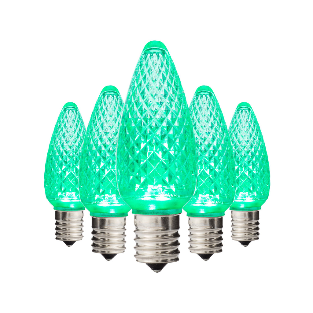 Green C9 Faceted Bulbs