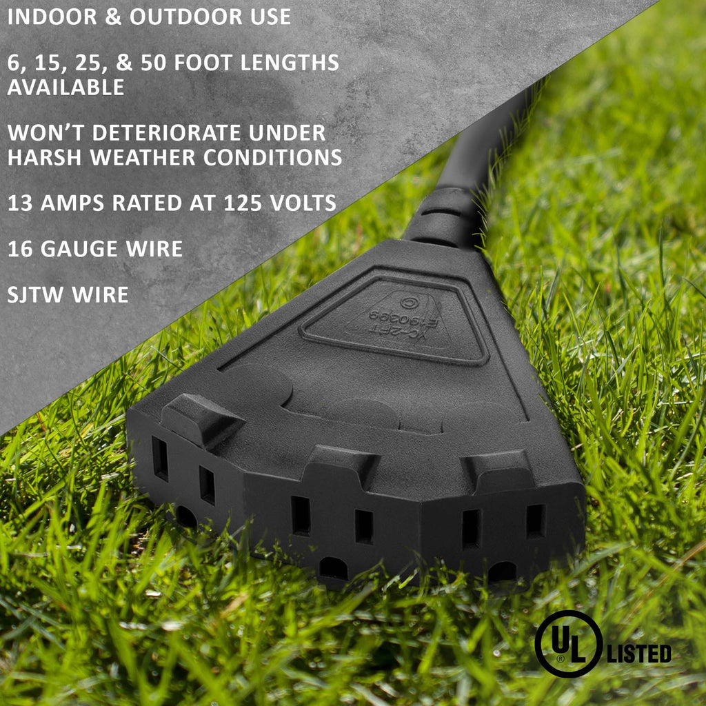 Black Outdoor Extension Cords · Perfect For Lawn & Landscape Lighting - Holiday Lighting Outlet