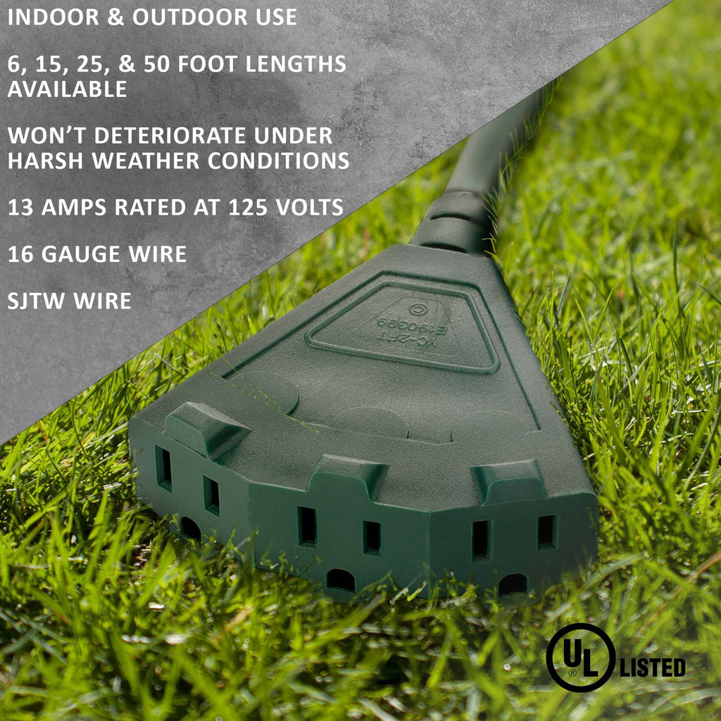 Green Outdoor Extension Cords · Perfect For Lawn & Landscape Lighting - Holiday Lighting Outlet