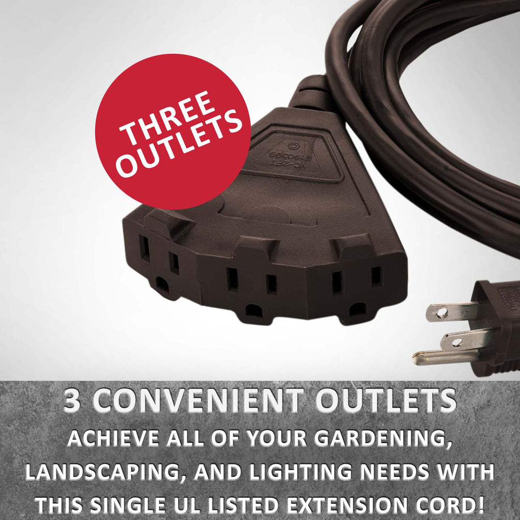Brown Outdoor Extension Cords · Perfect For Lawn & Landscape Lighting - Holiday Lighting Outlet