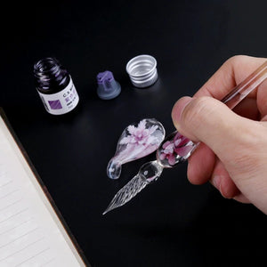3D Floral Glass Calligraphy Pen Set